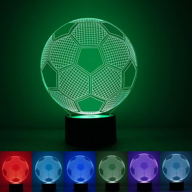 Creative LED Blubling 3D Table Desk Lamp Football Soccer Shape Home Decor Gadget Nightlight for Children Electronic Lighting