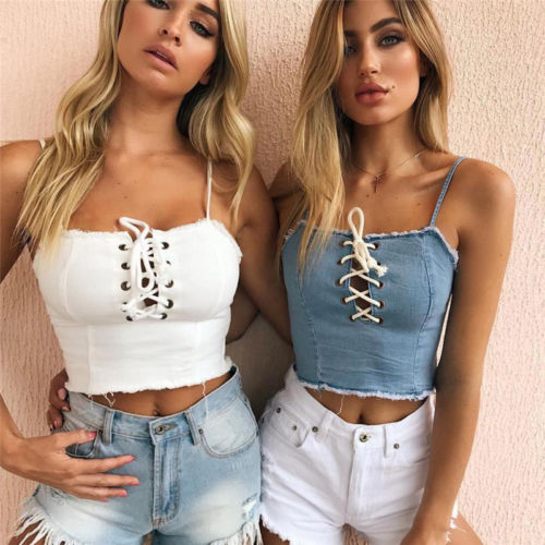 f1cd7f3d326 Sexy Lace Up Crop Top Cami Women Hollow Out Tank Caims Casual Denim Slim  Party Nightclub