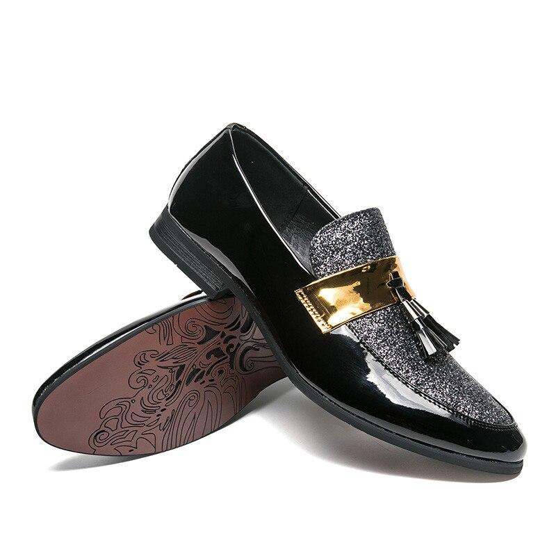 Sapato Sneakers 38 silver 47 Luxe Taille Casual En Chaussures Masculino 47 Noir Richelieus De Marque Cuir 38 Black Hommes cFqgO