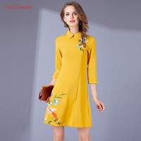 Fairy Dreams Women Dresses Yellow Blue Dress 2017 Spring Autumn Flowers Bird Butterfly Embroidery Plus Size