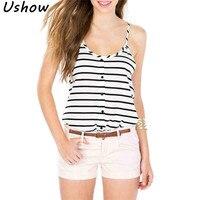 2017 Summer Women T Shirt Simple Black White Stripes Printed U Neck Straps Camisole Vest Sexy