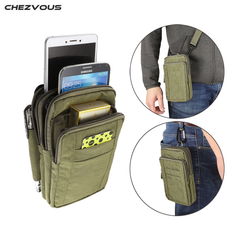 CHEZVOUS Waterproof Bag Case Universal Mobile Phone Nylon Wallet Belt Clip Pouch for Samsung galaxy s8 s7 a5 2017 j7 j5 2016
