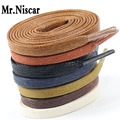 1 Pair waxed Cotton Shoelaces for Leather Shoes Shoestring Leather Boots Flat Waxe Laces Boots Shoelace Length 60-180 cm
