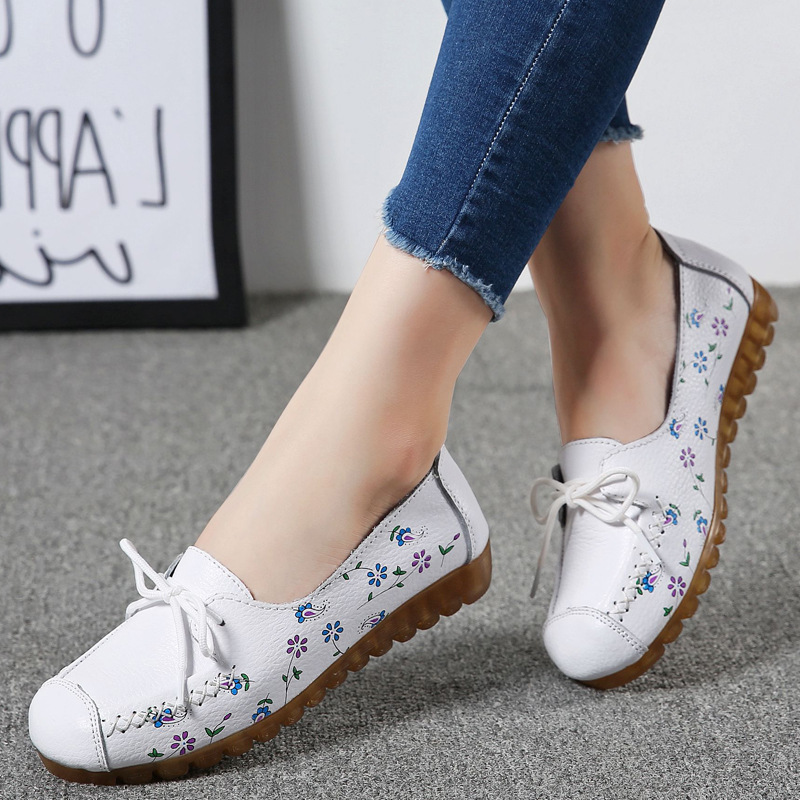 Spring Autumn 2019 Womens Shoes Flats Print Fashion Loafers Oxords Casual Leather Shoes Woman Slip on Plus Size 42 High Quality in Women 39 s Flats from Shoes