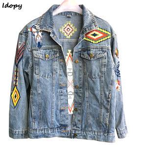 2c89b5b5c36cc Idopy Women Denim Jacket Long Sleeve Jeans Coat Outerwear