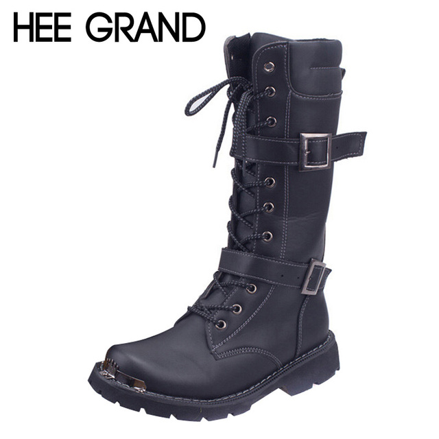 HEE GRAND New Arrival Combat Military Boots Men's Motorcycle High Boots Buckle Hard-wearing Desert  Shoes XMX329