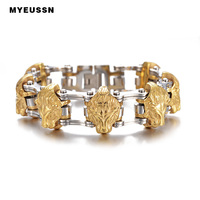 Hip Hop Jewelry Gold Lion Heads Motorcycle Link Men Bracelet 316L Stainless Steel Top Quality Fashion Bracelet Father's Day Gift