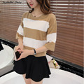 2016 new hot sale women's spring summer o-neck half sleeve knit pullover sweaters woman loose knit big yards shirt 3 colors
