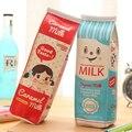 1PCS New Cosmetic Bag Simulation Milk Box PU Leather Makeup Pouch Stationery Storage Organizer Pencil Bag Escolar Papelaria