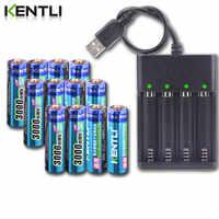 Bateria recarregável do li-íon do lítio de kentli aa 1.5 v 3000mwh + 4 baterias do li-íon do lítio do polímero do canal carregador