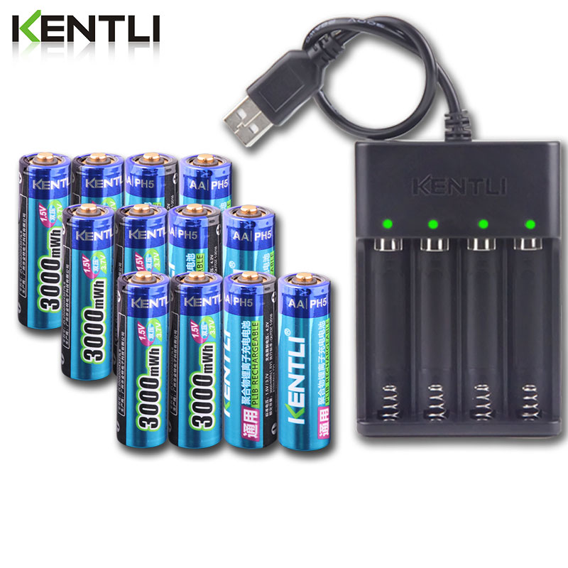 Bateria aa 1.5v recarregável + carregador kentli, bateria recarregável 3000mwh de íon de lítio + 4 canais de polímero de lítio, bateria de íon de lítio com carregador de baterias