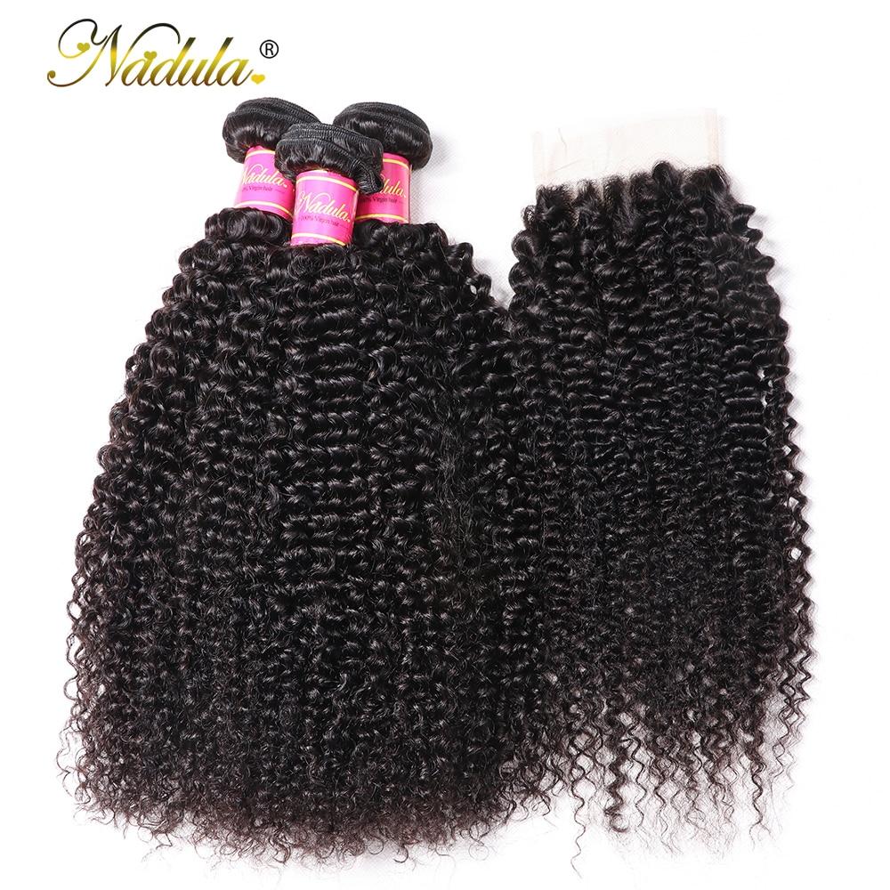 Nadula Hair Kinky Culry Bundles With Lace Closure 4*4 Closure With Human Hair Bundles 2/3/4 Bundles With Closure Remy Hair