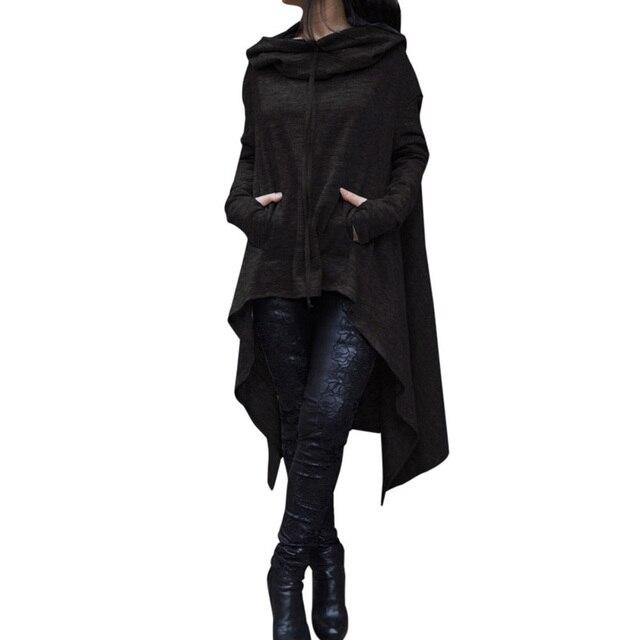 Winter Women Hooded Sweatshirts Cloak Cape Long Sleeve Pullovers