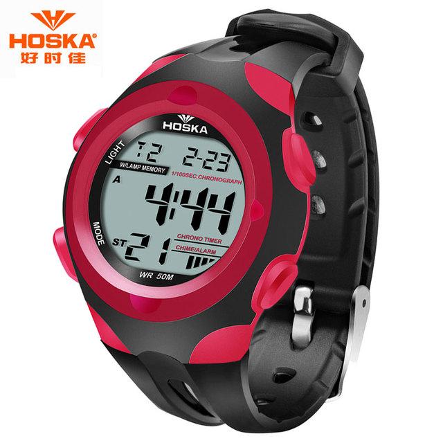 Crianças Relógio Marca HOSKA Esporte Relógio Digital de Display LED Banda De Plástico De Borracha À Prova D' Água relogio masculino esportivo H012