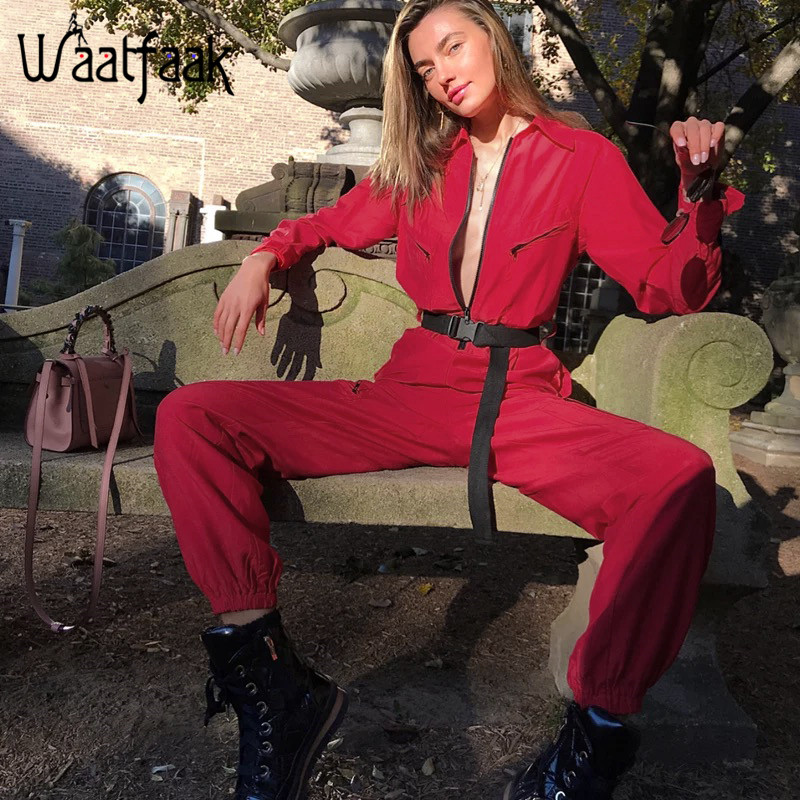 Waatfaak карго красный комбинезон для женщин длинные брюки с длинным рукавом Уличная одежда с карманом сексуальный комбинезон на молнии водолазка лоскутный комбинезон