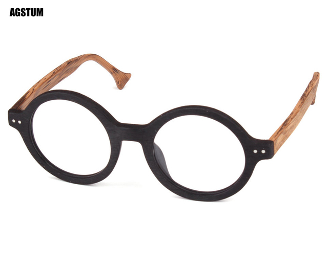 ec0f4c84721 42mm Wood Frame Retro Round Vintage Handmade Glasses Eyeglass Frame  Spectacles Rx