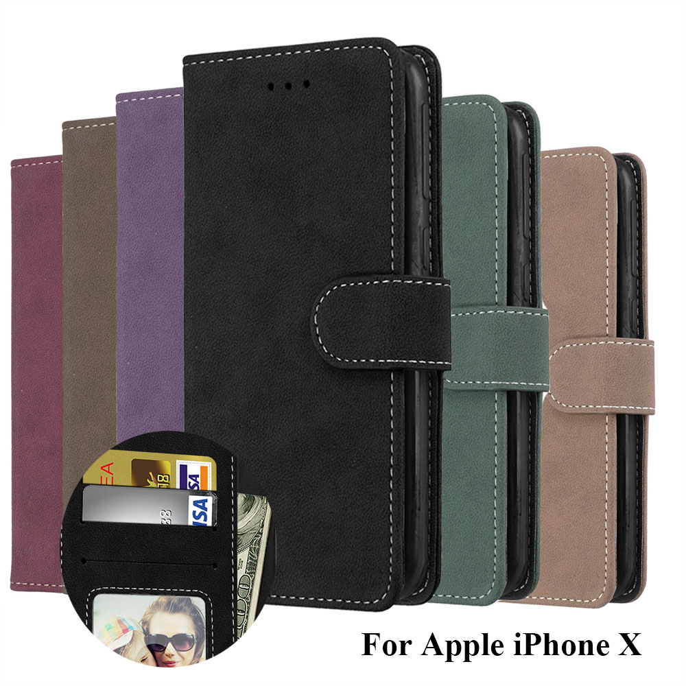 Luxury PU Leather Magnetic Durable Cover Matte Wallet Case for iPhone X XS XR MAX For 5 5S SE 6 6S 7 8 Plus