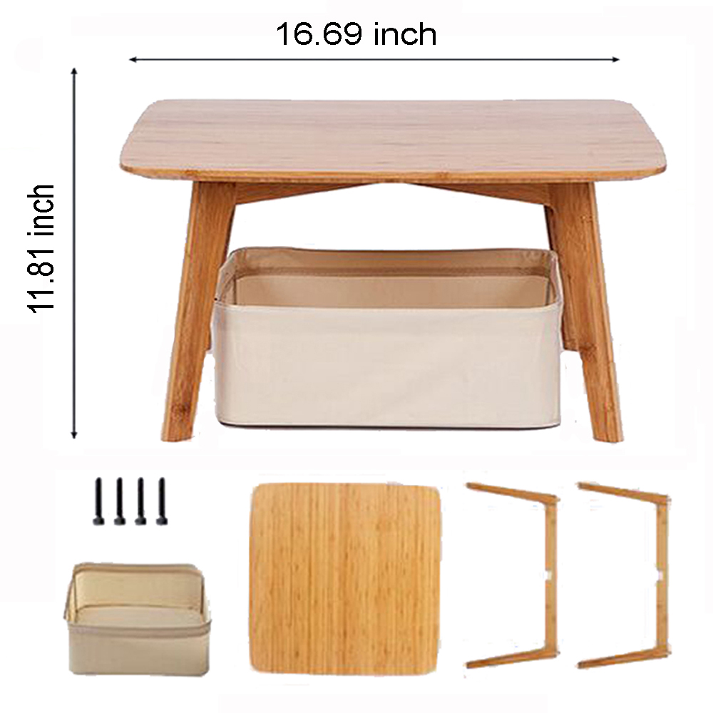 Купить с кэшбэком ZEN'S BAMBOO Coffee Table with 2 Cushion and a Storage Basket Japanese Small Table