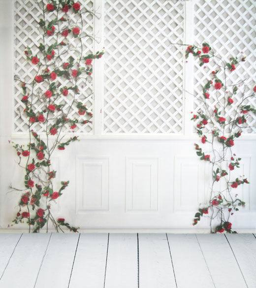 8x12ft Indoor Light Lattice Pattern Wall Flower Wooden
