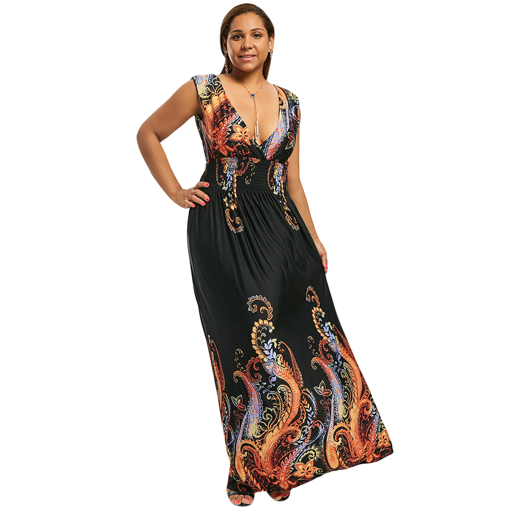 Summer Paisley Plunge V Neck Bohemian Plus Size Women Dress Casual Beach  Maxi Dress Big Size 3XL 4XL 5XL Elegant Party Dress 7XL-in Dresses from  Women s ... 8fb4425175a5