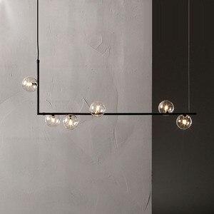 Image 1 - Design minimalista Palla di Vetro Lampade a sospensione Arte Creativa Molecola Apparecchi di Ristorante Bar Cafe Decorazione Lampada A Sospensione