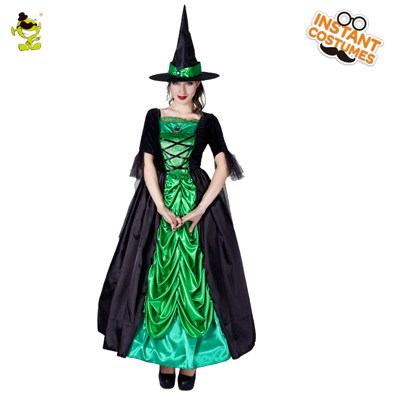 2018 Womenu0027s Elegant Green Witch Costume Adult Sexy Sorceress Fancy Outfits Halloween Party Deluxe Witch Role Play Dress on Aliexpress.com | Alibaba Group  sc 1 st  AliExpress.com & 2018 Womenu0027s Elegant Green Witch Costume Adult Sexy Sorceress Fancy ...