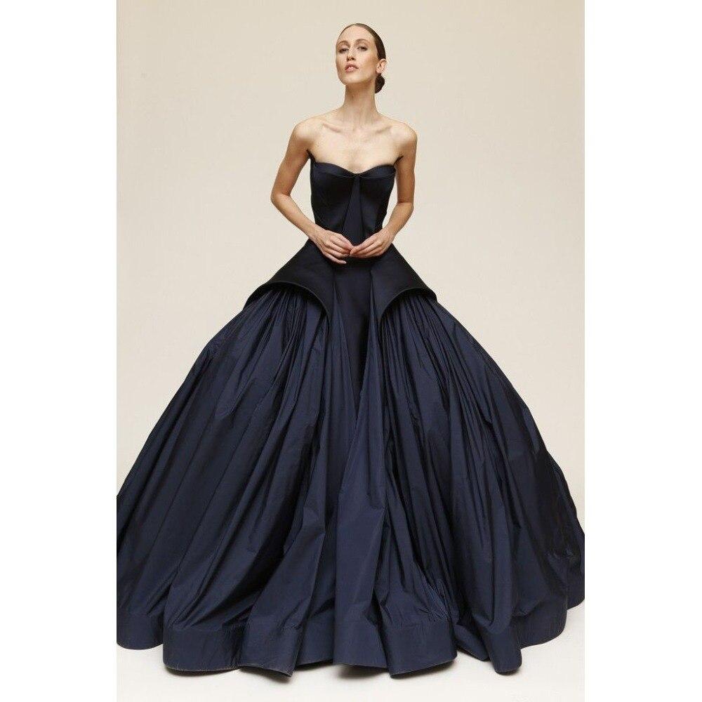 Dark Navy Blue Ball Gown Long Evening Dresses Strapless ...