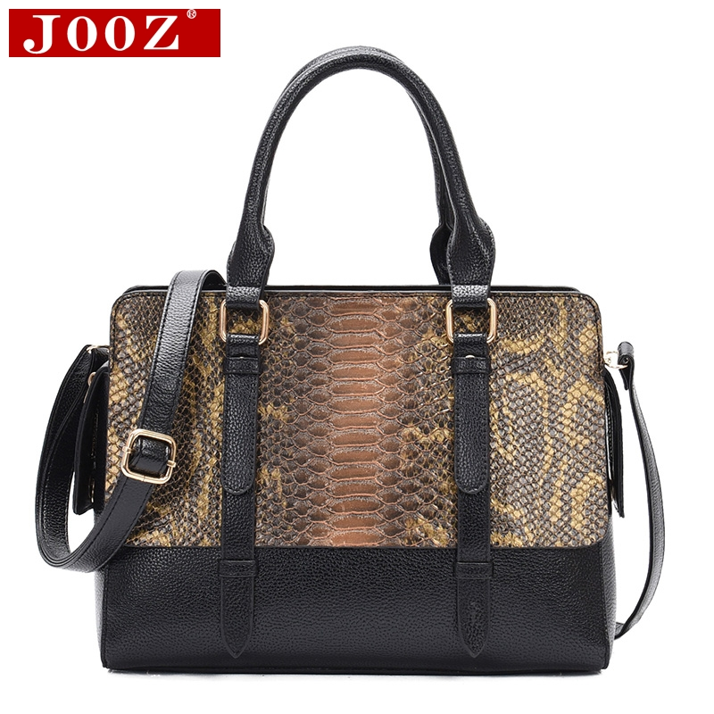 JOOZ Luxury Serpentine Pattern Ladies Hand Bags Fashion Big Women Bags Designer PU Leather Crossbody Bags Brown Green Sac A Main