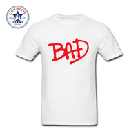 2017 Newest Fashion Funny Michael Jackson Bad Font Funny Cotton T Shirt For Men