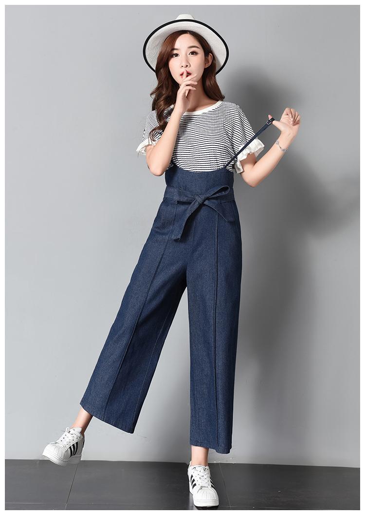 a35895eeaec PLAMTEE Lace-Up Denim Overalls Women Bandage Sleeveless Jumpsuit Safari Wide  Leg Pants Loose Solid Jeans Autumn Winter 2018 New