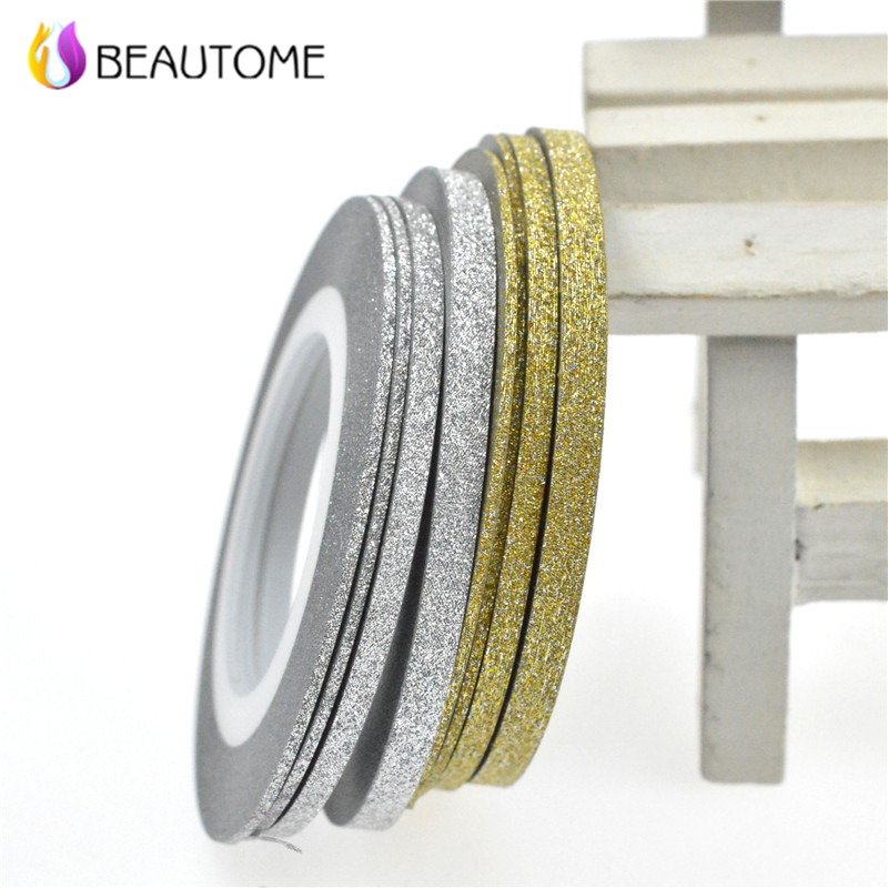 SWEET TREND 1 Rolls 1mm/2mm/3mm Laser Gold Silver Glitter Striping Tape Line Nail Art Tips Decals Beauty Decoration for DIY top nail 20 rolls of laser gold silver glitter striping tape line nail art tips decals beauty transfer foil stickers for nails