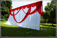 3X6M White Wedding Backdrop Curtain With Red Swag Pleated For Wedding Event&Party&Banquet Decoration(Lycra Chair Cover)