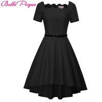 Off Shoulder Dress Women Robe Vintage Black Red Summer Dress Jurken 50s 60s Retro Rockabilly Swing
