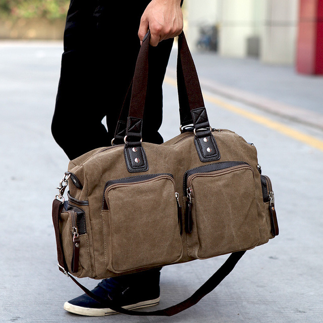 New Fashion Canvas Men Travel Bags Carry On Luggage Bag Large Duffel Shoulder Weekend