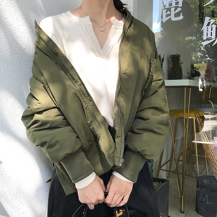 Doublure Occasionnel Noir En Outwears Épais Coton Vestes Style Hiver Automne Bas Vers Chaud Manteaux Femme Bf Le vert Lâche 2018 wzXYP