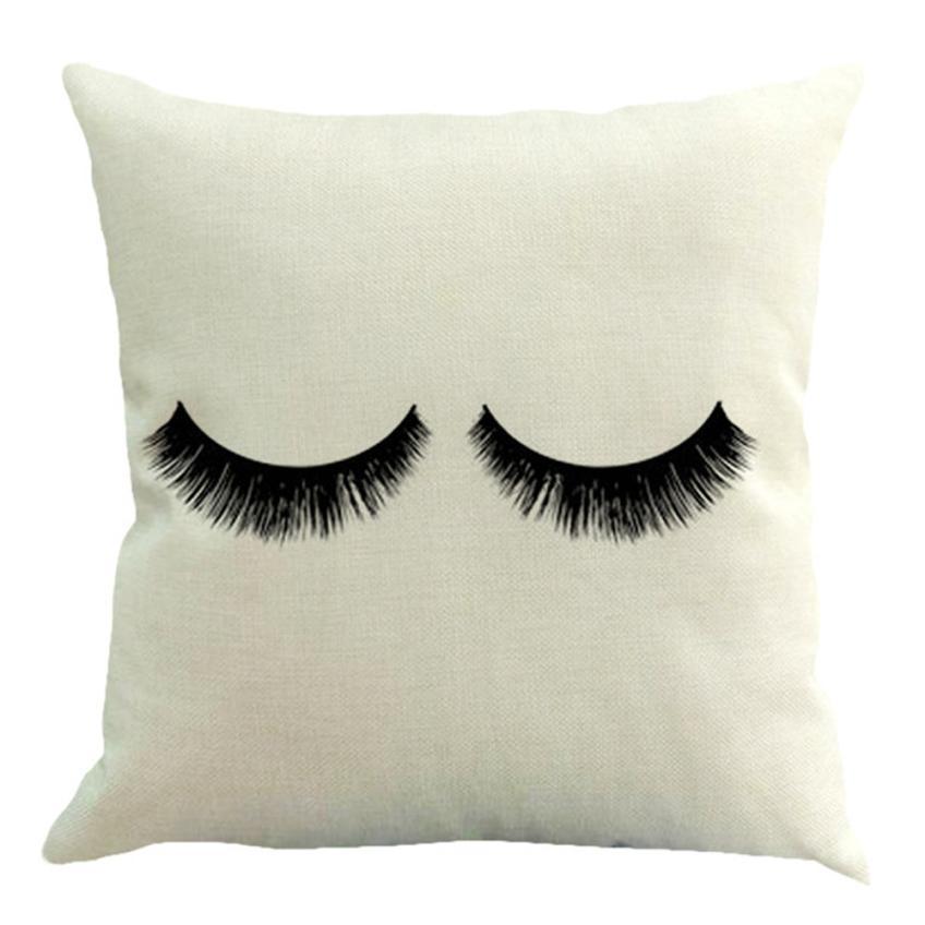 Eyelash Cushion Cover Cotton Linen Throw Pillow Case Square Pillowcase For Chair Seat 45cm*45cm Pillow cases home decor
