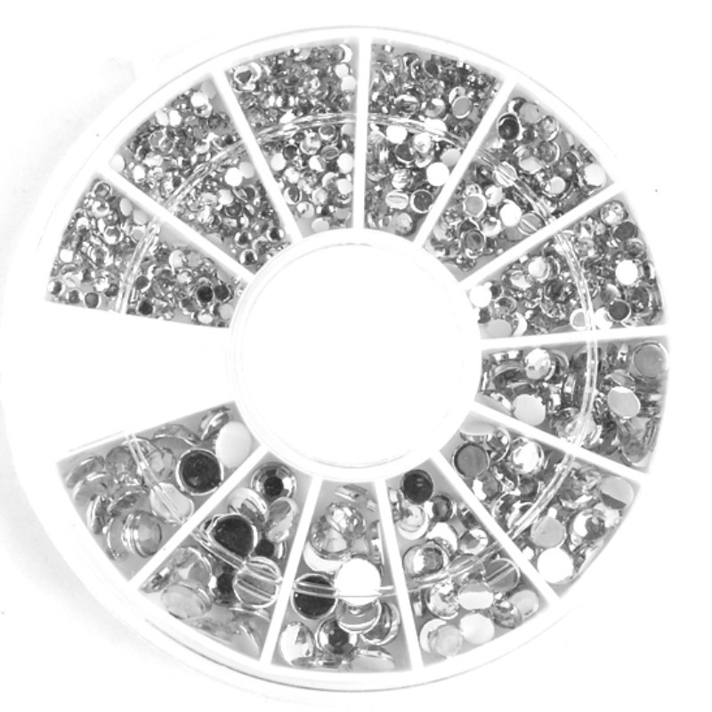 400Pcs 1.2mm/2mm/3mm/4mm Mixed Silver Round Rhinestones For Acrylic UV Gel Shinning Nail Art Decoration in Wheel