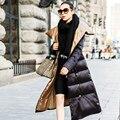 Europa Mais Recente Moda Feminina Inverno Longo casaco de gola Espessamento Super Quente Para Baixo jaqueta Super Slim Grandes estaleiros Longo Casaco G2018