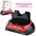Multifuncional HDD Docking Station Dual USB 2.0 2.5/3.5 Polegada Cartão de IDE SATA Caixa HDD Externo Hard Disk Drive Enclosure leitor