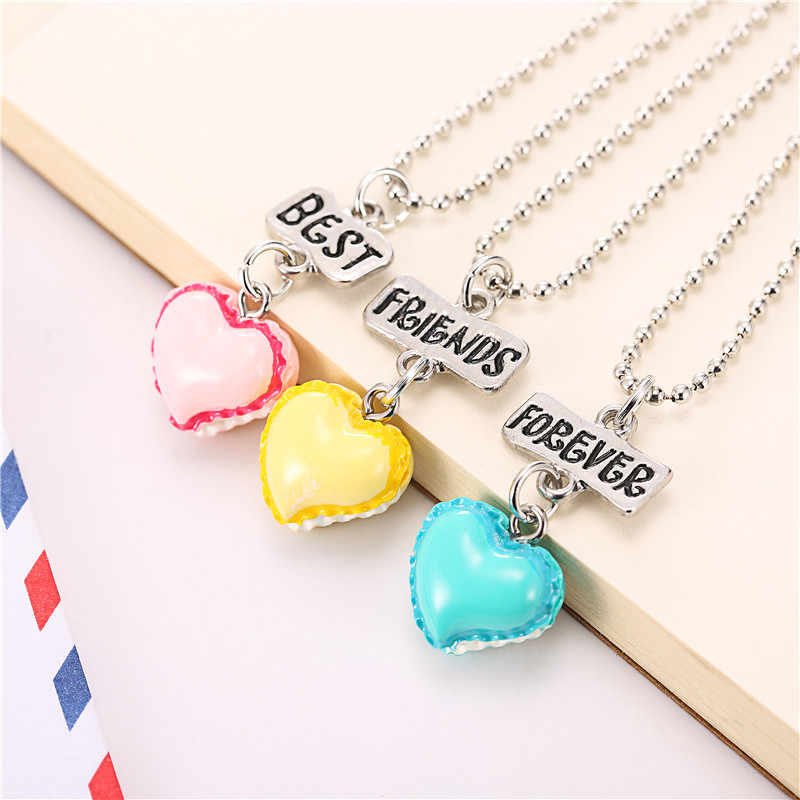 0558c8b77 Set of 3 BFF Best Friends Forever Necklace Peach-heart resin ice-cream  pendant