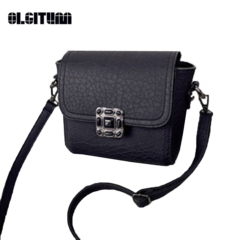 OLGITUM 2018 Vintage Women Small Square Package Lock Ba Messenger Bag Mini Bag All-Match Shoulder Bag Fashion Small Bag HB171