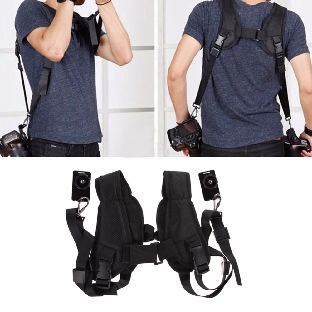 цена на Hot Sale Double Camera Strap for Two Cameras Quick Rapid Double Dual Shoulder Sling For 2 Digital SLR DSLR Cameras Black Color