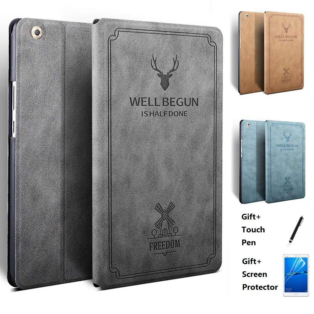 Deer Head Pattern Leather Smart Case For Huawei MediaPad M5 10.8 CMR-AL09 CMR-W09 10 Pro CMR W19 Auto Wake Sleep Stand Flip Cove