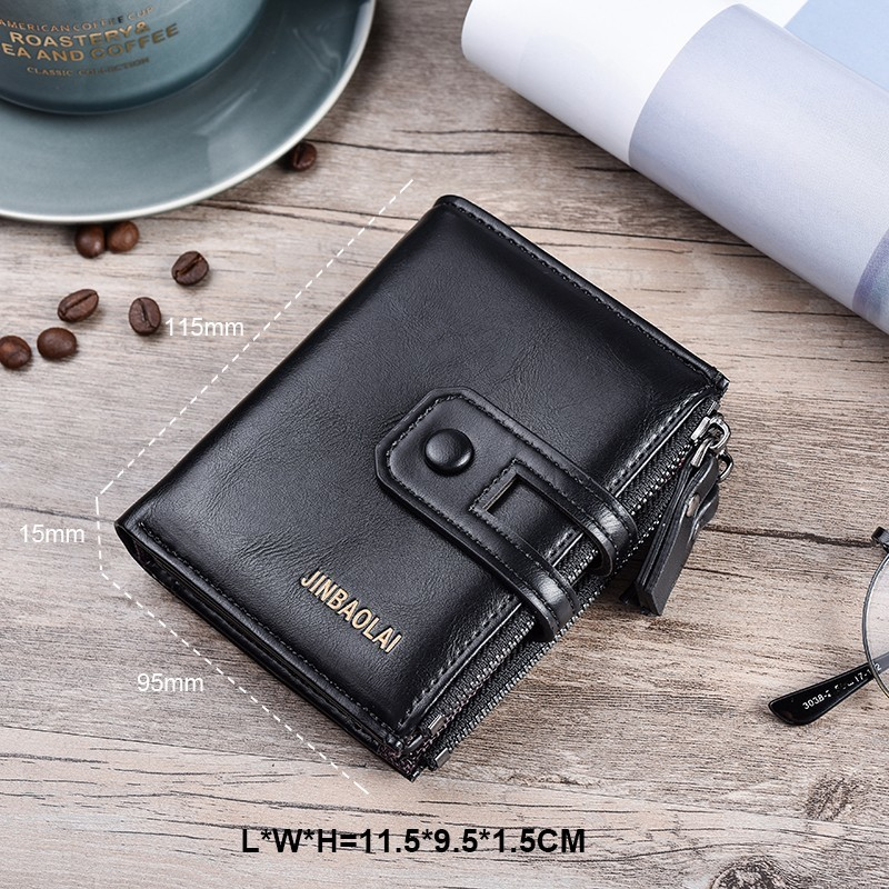 HTB1UPXXdjrguuRjy0Feq6xcbFXaM - JINBAOLA Men Wallet Brand Wallet Double Zipper&Hasp Design Small Wallet Male High Quality Short Card Holder Coin Purse Carteira