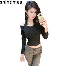 shintimes Autumn Short T-Shirt Womens Tops Long Sleeve Lace Hanging Neck Cotton Tshirt Slim Black Korean Fashion Tee Shirt Femme