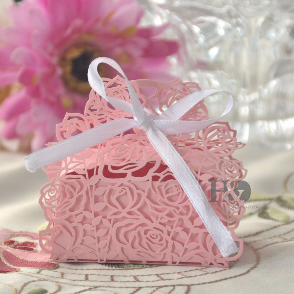 H&D Pink Rose Laser Cut Cake Candy Gift Boxes With Ribbon Wedding ...