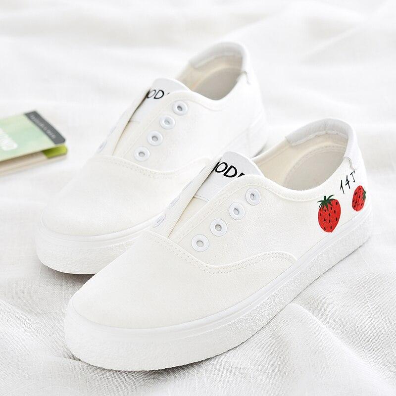 Femenino Rosado Chaussure Pintado Lienzo Verano Mujeres Fresco A Bajo Transpirable Femme Zapato Casual Señora Moda Zapatos blanco Pequeño Mano wxxFTSf