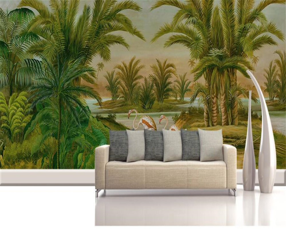beibehang Custom Wall Mural 3D Wallpaper European Style Retro Hand drawn tropical rain forest Plant Wall Painting Wallpaper 3D beibehang custom 3d wallpapers hand painted retro nostalgic abstract oil painting flowers landscape european style wallpaper