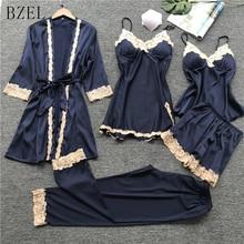 BZEL Women Pajamas 5 Pieces Satin Sleepwear Pijama Lace Home Wear Home Clothing Embroidery