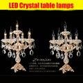 5-Arm Interior escritório mesa de luz lâmpada de mesa da cozinha restaurante candeeiro de mesa de cristal de casamento Luminaria luz de leitura luz Interior